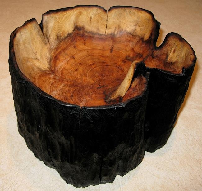 Hybrid mesquite wood with ebonized sides