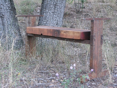 Wood and steel bench