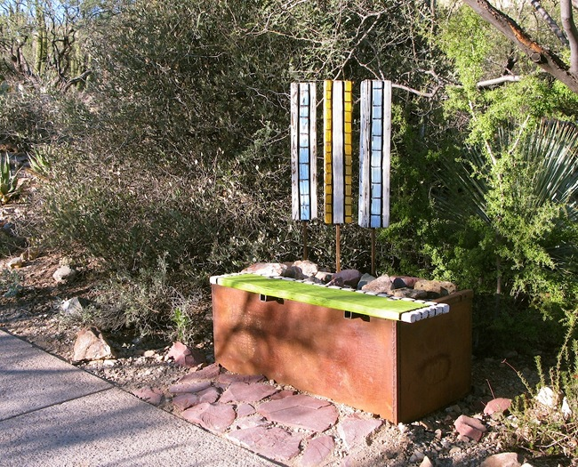 Bench with habitat for bees and lizards - AZ Sonora Desert Museum