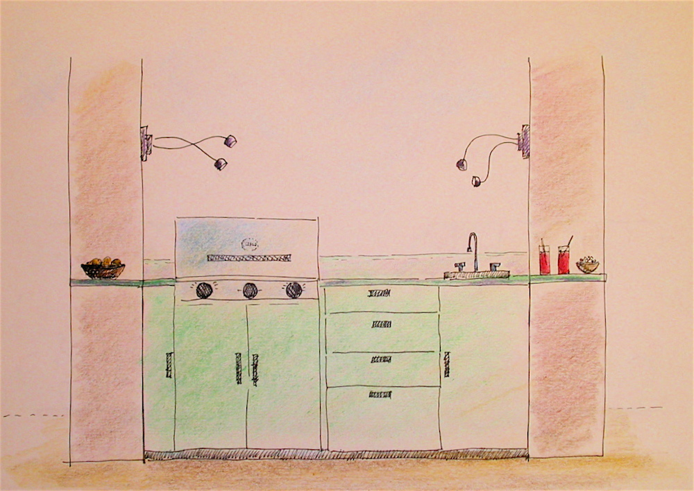 Outdoor kitchen sketch