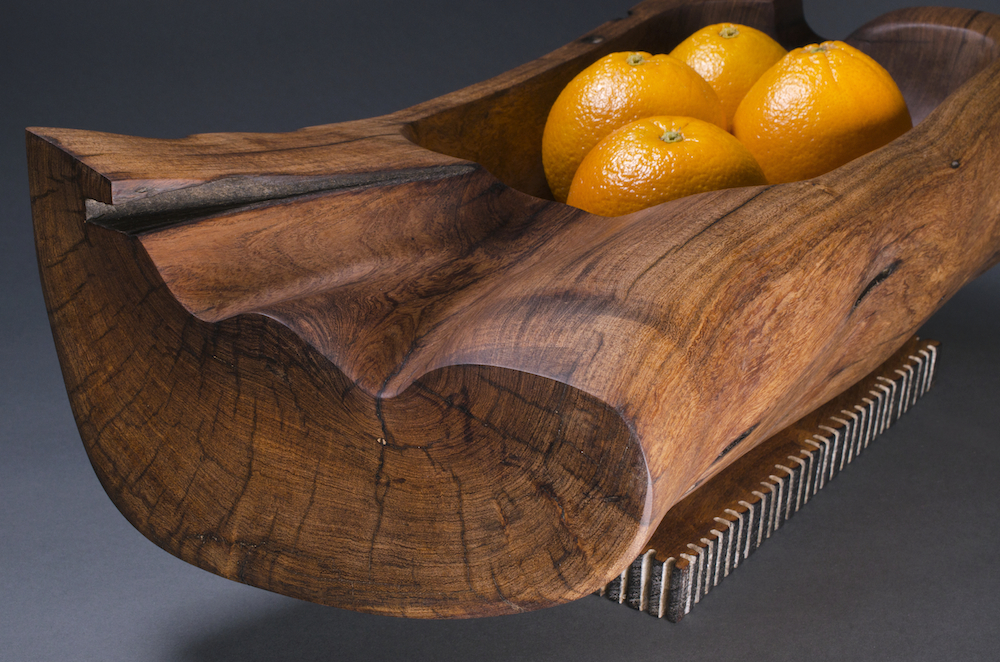 Mesquite bowl with rectangular base