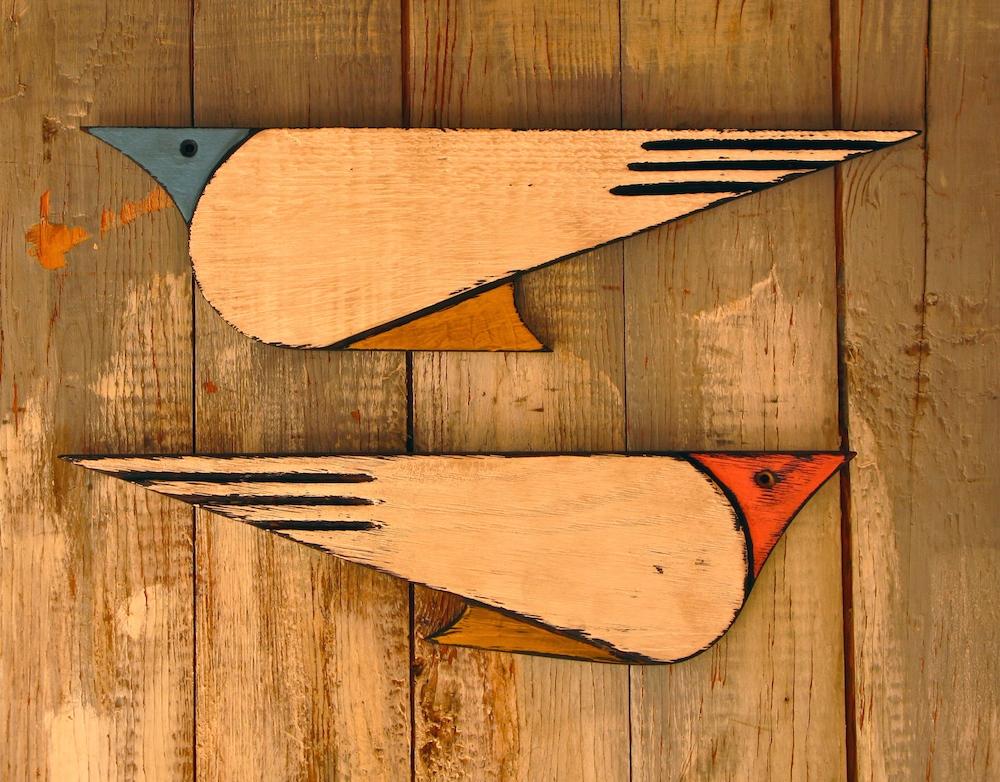 Birds in flight - wood wall sculptures
