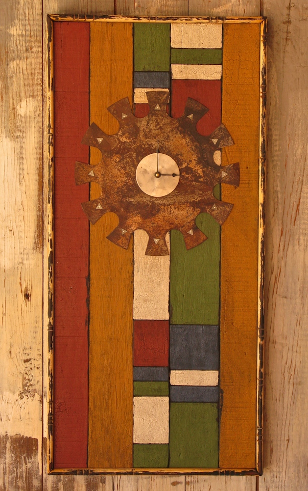 Wall clock of tropical pallet wood with milk paint finish