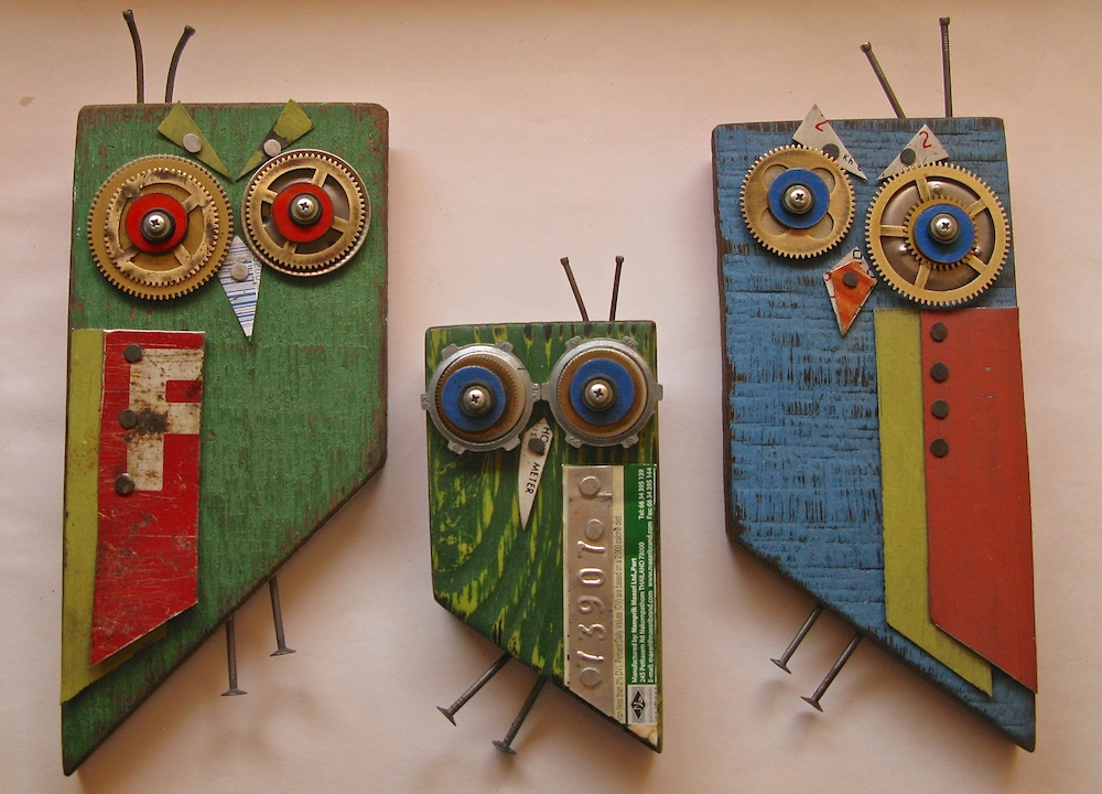 Small owls made from scraps and found objects