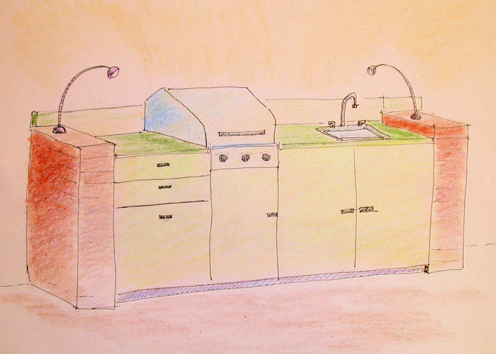 Another outdoor kitchen sketch